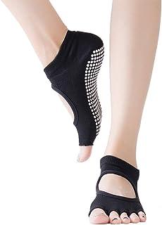 AMOYER, Calcetines unisex Yoga Pilates calcetines antideslizantes para Toeless Ballet Barre Pilates Danza para Hombres Mujeres