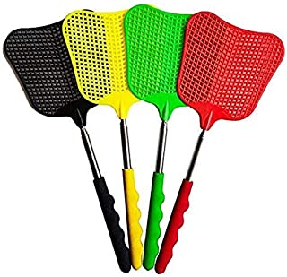 4pcs retractable fly swatter durable plastic heavy fly swatter with stainless steel handle 4 colors