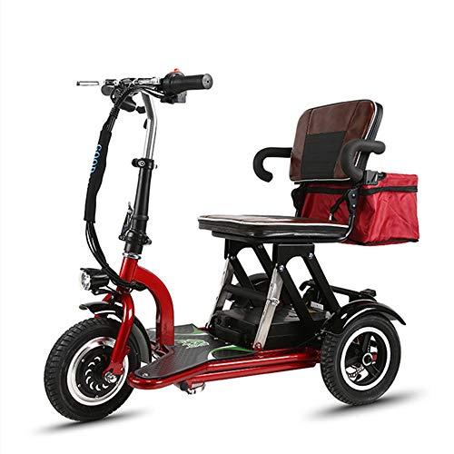 Wenore Elektrorollstuhl, Mini tragbares kleines dreirädriges elektrisches Fahrzeug, motorisierter Roller, behindertes Auto, 48-Ah-Batterie mit großer Kapazität, langlebige Batterielebensdauer