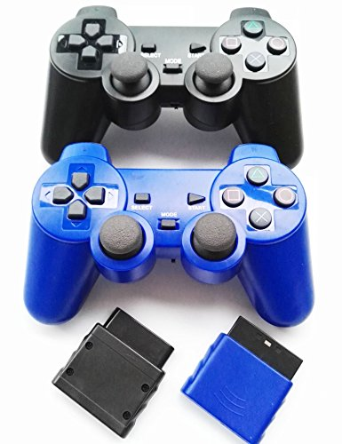 Bowink 2 Packs Wireless Gaming Controllers for Ps2 Double Shock - Black+Blue