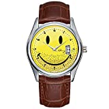Fashion Simple Men Watch Casual Waterproof Quartz Watches Clock Date Classic Business Leather Christmas Wristwatch Dusty Ruff Bearded Smiley Face Wristwatch