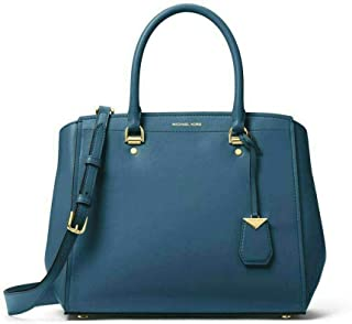 MICHAEL Michael Kors Benning Large Leather Satchel in Dark Chambray