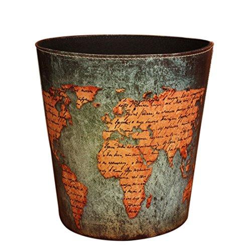 FOKOM Papierkorb, Vintage Retro Klassisch Papierkorb Büro Mülleimer Abfalleimer PU Leder Papierkorb Trash Bin ohne Deckel-Weltkarte