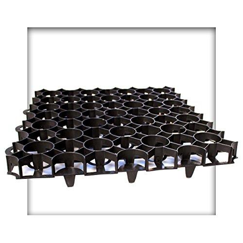 Kieskönig Rasengitter 50x50x4 cm schwarz Rasengitterplatten Rasenwaben Rasenmatten mit Bodenkreuzen Bodenwaben 24 Stück (6 m²)