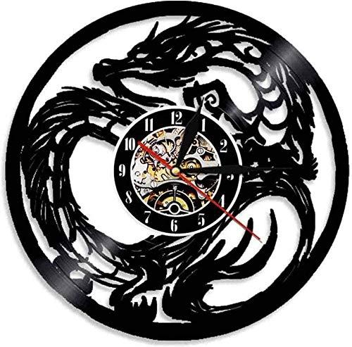 CCGGG Vinyl Record Wanduhr Yin Yang Dragon Alte Kunst Mythisches Tier Chinesische Fantasie Monster Home Decoration