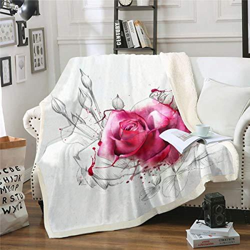 Loussiesd Manta de forro polar rosa con diseño floral rosa para sofá cama, flores románticas, manta de felpa, diseño hippie, para jardín, decoración de habitación individual, 150 x 152 cm