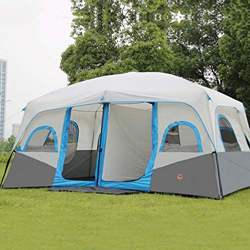 KY Outdoor Camping Tent 10-12 People Dome Tent, Blue Dome Tent