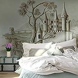 Hhkkckカスタム壁画壁紙3Dステレオレリーフ黄金の城の建物写真壁紙リビングルームベッドルーム家の装飾-160X120Cm
