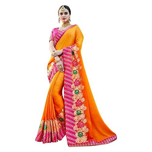 ETHNIC EMPORIUM Bollywood Wedding Collection Silk Saree Chemisier design Muslim pour femme Indian Ethnic 895 43481