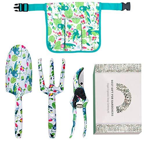 Hortem - Juego de 3 herramientas de jardín de aluminio floral, kit de herramientas de jardinería de alta resistencia con asas de diseño ergonómico, regalo de jardín perfecto para mujer y hombr