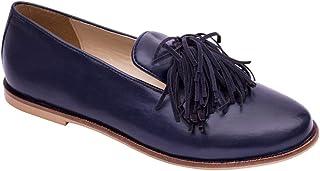 Chumbak Tasseled Trims Navy Loafers for Women
