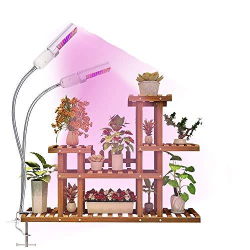 Plant Grow Light, Kolem 45W Dimmable Full Spectrum LED Plant Light Daul Heads Plant Lamp for Indoor Plants with 2 Replaceable Bulbs, Longer Gooseneck on Seed Starting, Flower, Veg