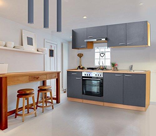 respekta Küche Küchenzeile Einbauküche 210 cm Buche Nachbildung GRAU KB210BGE