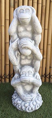 Steinfigur 3 Affen übereinander Nichts hören sehen Sagen Steinguss + Original Pflegeanleitung von Steinfigurenwelt
