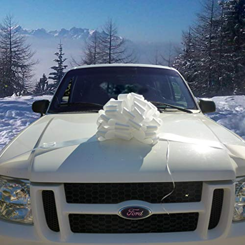 """Large Car Bow, 16"""" Wide - White"""