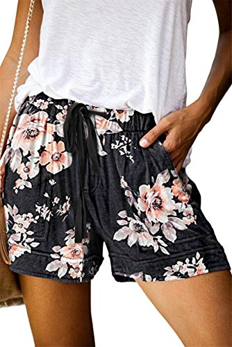 ONLYSHE Womens Shorts for Summer Casual Comfy Drawstring Waistband Pockets Black XL