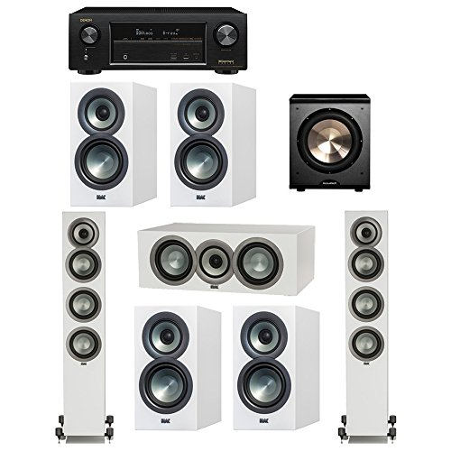 Find Bargain ELAC Uni-Fi Slim White 7.1 System with 2 ELAC FS-U5 Floorstanding Speakers, 1 ELAC CC-U...