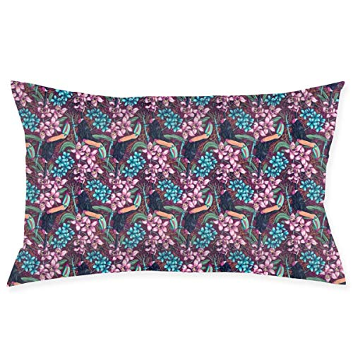 tyui7 Pillowcase Toucans Blooming Orchids Floral Pattern Decorative Pillow Cover Soft and Cozy, Standard Size 75x50 cm with Hidden Zipper