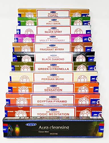 Satya Nag Champa and Sterling Effectz Combo Set of Incense Sticks and JR Incense Holder 12 Packs 15g, Multi Fragrances Set-JR16