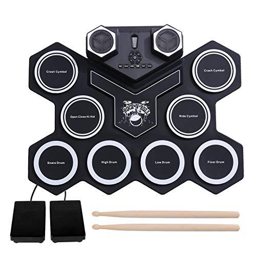 Portátil Roll Up Midi Electronic Drum, 9 Almohadillas Digital Bass Tambor con altavoces y pedales de doble estéreo, batería de carga incorporada (8H Tiempo de juego), Regalo para niños principiantes