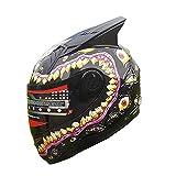 Full Face Motorcycle Helmet Venom Racing off road Street Helmet With Horns BLACK (L)