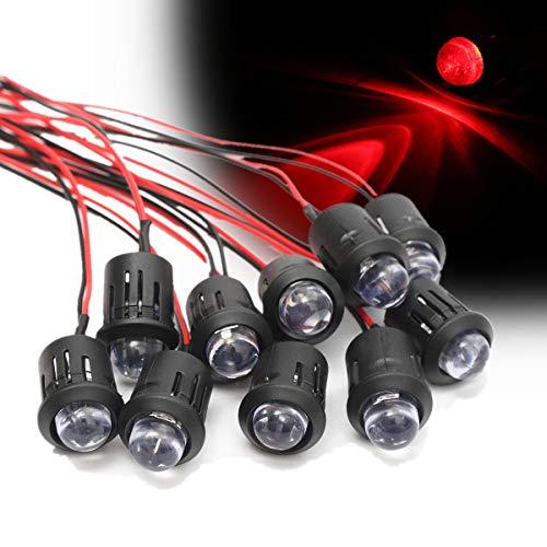 MING-MCZ Duradero 12V 10mm Leds Indicadores Muy constantes Brillante con Cables pre-Agua LED Claro 10Pcs Fácil de Montar (Color : Red)