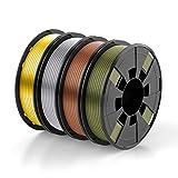 BOSOKU PLA Filament Bundle for 3D Printers, 1.75mm 250g, 4 Color Pack, Widely Compatible for FDM 3D Printer-Gold, Silver, Copper, Bronze