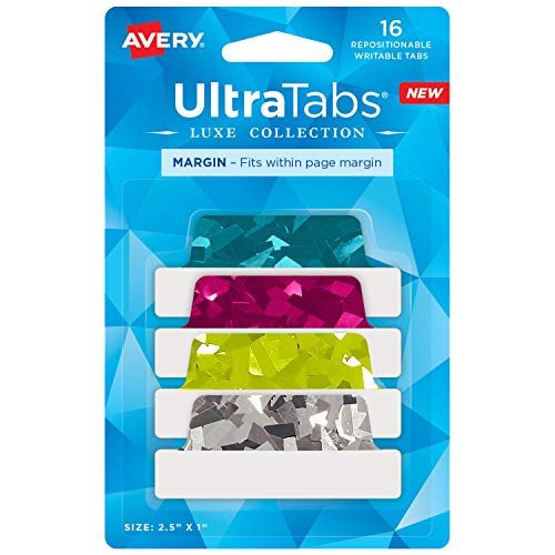 Avery Margin Ultra Tabs, 2.5' x 1', Holographic Jewel Tone Colors, 16 Repositionable Page Tabs (74147)