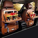車の収納ポケッ 旅行に赤ちゃんの保存袋のiPadミニホルダー1PCSプレミアムPUレザーバックシートプロテクター/キックマット/カーオーガナイザー(1パック) 防水防汚多機能大容量 (Color : Brown)