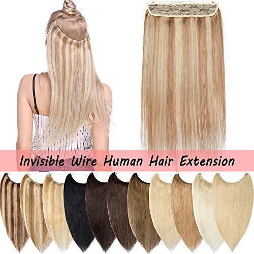 S-noilite Extensions Echthaar Haarverlängerung 1 Tresse Haarteil mit Draht Glatt Haarverdichtung Dick 45 cm (100 g) weissbraun/hellblond #12/613