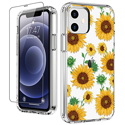 """LUHOURI for iPhone 12 Case,iPhone 12 Pro Case with Screen Protector,Cute Sunflowers Floral Designs on Crystal Clear Cover for Women Girls,Protective Phone Case for iPhone 12/12 Pro 6.1"""""""