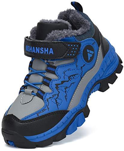 Mishansha Scarpone Trekking Ragazzi Foderato Scarpe da Montagna Bambini Scarpa da Escursionismo Calore Scarponi Neve Grigio Gr.28