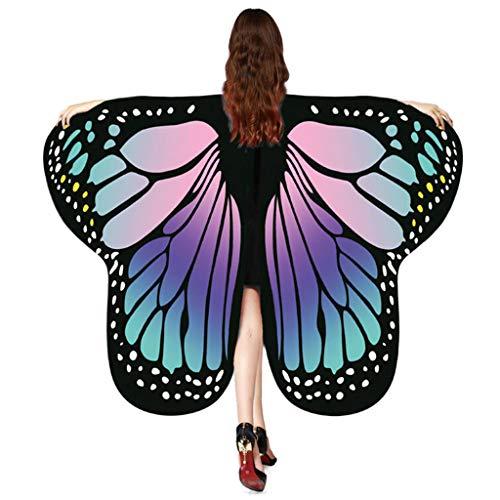 Andouy Damen/Kinder Schmetterlingsflügel Schal Nymphe Pixie Flügel Poncho Kostümzubehör für Party Weihnachten Cosplay(175X125CM.Lila)