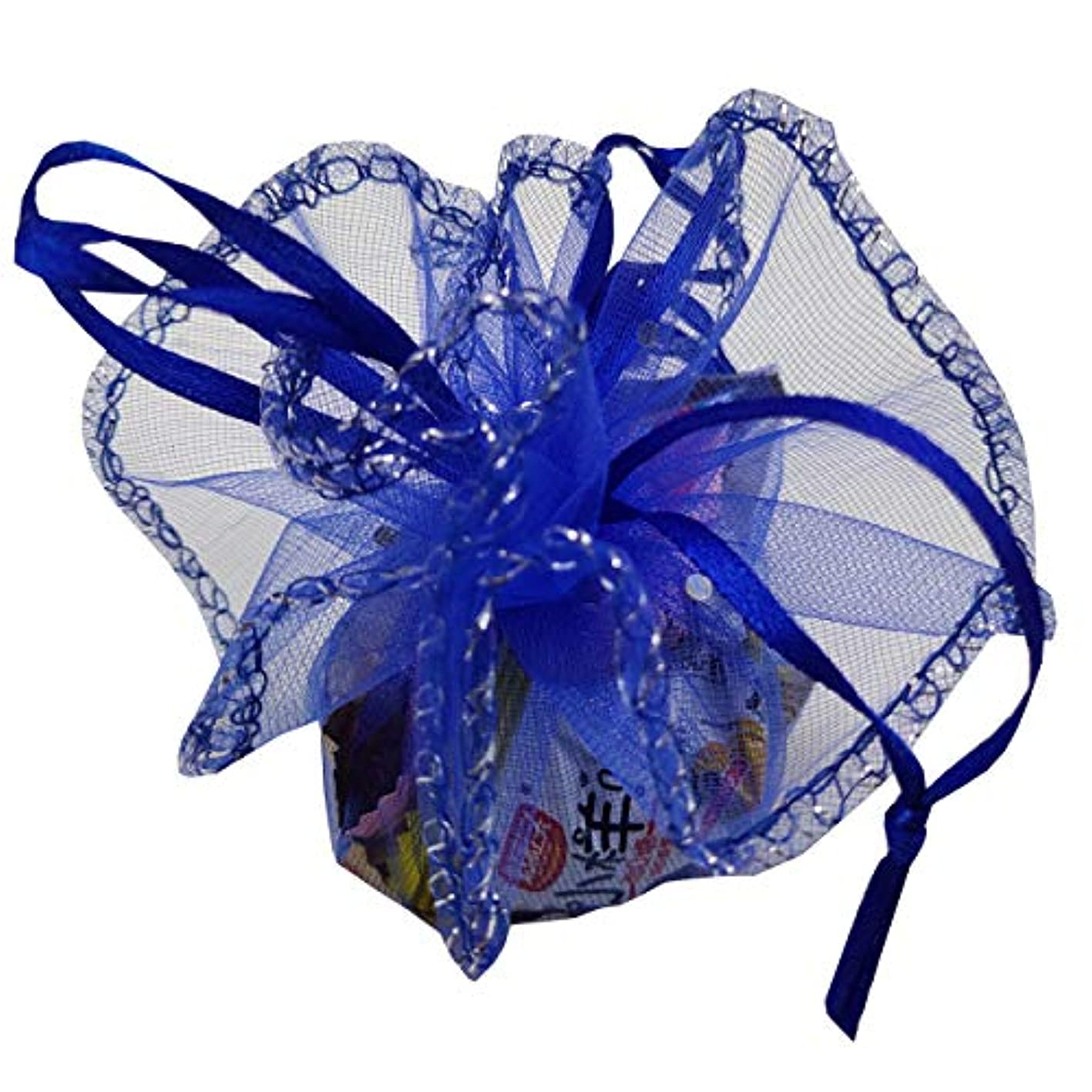 Ankirol 100pcs Sheer Organza Favor Bags Round Drawstring Organza Jewelry Candy Pouch 26cm/10.2 inch Diameter Christmas Wedding Party Favor Gift Packaging Bags (Royal Blue) ovesemlkjyi387