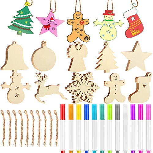 Blulu 50 Pieces Christmas Wooden Hanging Ornaments Unfinished Wood Cutouts with 50 Pieces Ropes and 12 Pieces Marker Pens for DIY Christmas Craft Decoration