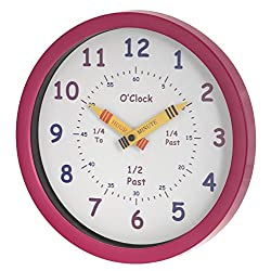Unity Henley Children's Learn The Time Wall Clock, 10-Inch, Pink
