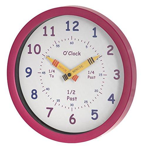 Unity - Reloj de Pared para niños Henley 'Aprende Las Horas', 25 cm, Color Rosa