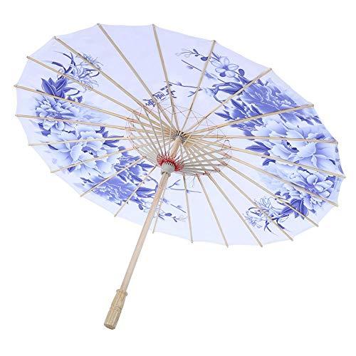 TOPINCN Papier Regenschirm Frauen Handgemachte Regendichte Handgemachte Winddicht Blumenmuster Chinesischen Klassischen Tanzschirm(Blau)
