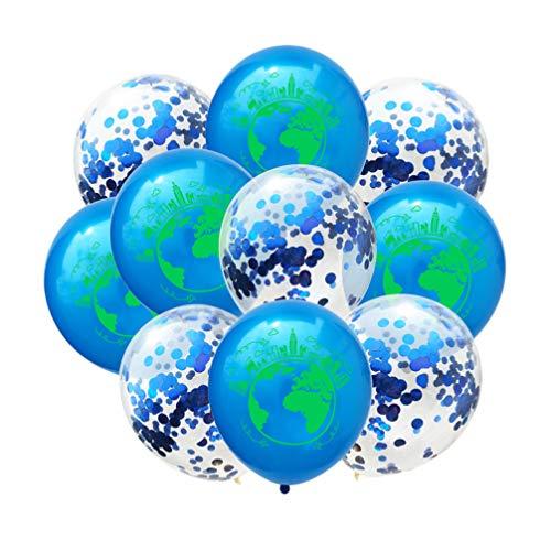 TOYANDONA 10 Stück Weltkarte Luftballons Erde Tag 12 Zoll Latex Luftballons Pailletten Konfetti Luftballons Dekoration für Geburtstag Hochzeitstag Party (Dunkelblau Dunkelblau Pailletten)
