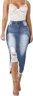 Womens Fashion High Waist Ripped Destroyed Bodycon Street Style Denim Skirt