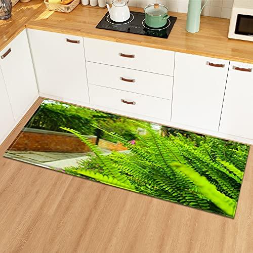 OPLJ Felpudo de Entrada Alfombra de Cocina para el hogar Decoración de Dormitorio Alfombra de Piso Patrón de Planta Pasillo Balcón Alfombra de baño Antideslizante A14 40x120cm