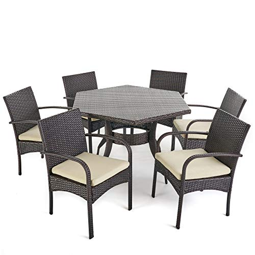 Contemporary Home Living 7-Piece Brown Finish Hexagon Wicker Outdoor Furniture Patio Dining Set - Cream Cushions