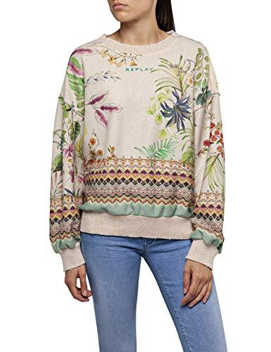 Replay Damen W3114B.000.72050 Sweatshirt, Mehrfarbig (Beige Lurex/Multicolor Flowers 10), Large (Herstellergröße: L)