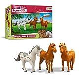 CRAZE Bibi & Tina Pony Set Figuras Juego de 3 Ponis para Jugar y Recoger Snoopy MAX Moritz 14691