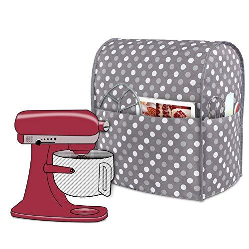 Luxja Abdeckhaube für KitchenAid Küchenmaschine, Anti-Staub Abdeckung für KitchenAid Küchenmaschine und Zubehör, (passend für 5,6-7,5 Liter, Graue Punkte)