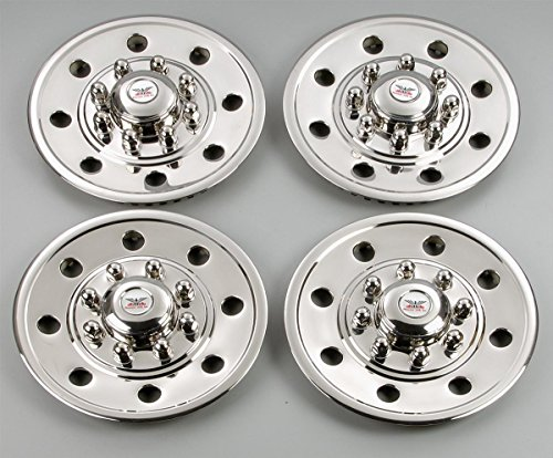 PHOENIX GQST60, Set of 4 - Hubcap for 16', 8 Lug nut Trailer Wheels, Stainless Steel Wheel Cover, Hub Cap for Trailers