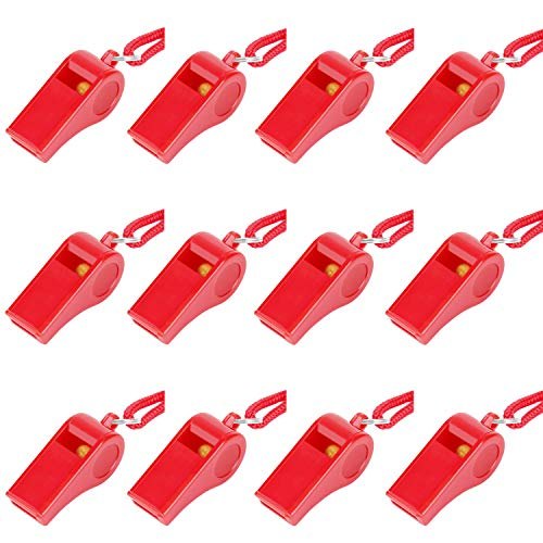 Fya 12PCS Red Emergency Whistle with Lanyard, Super Loud Plastic Whistles Bulk Perfect for Self-Defense, Lifeguard and Emergencies
