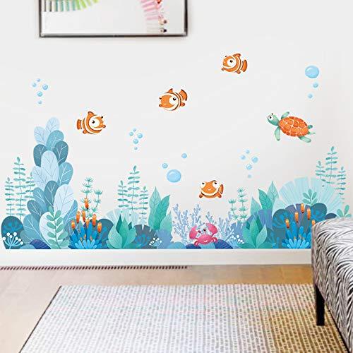 Kleine vissen Koraal Wereld Kinderkamer Creatieve Stickers Decoratie Slaapkamer Woonkamer Stickers Taille Lijn Badkamer Glas Rokken