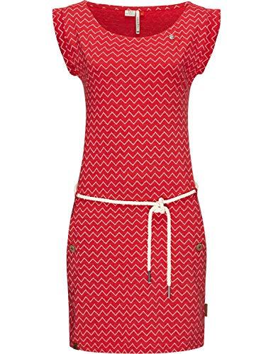 Ragwear Damen Baumwollkleid Jerseykleid Sommerkleid Strandkleid Tag Zig Zag Red20 Gr. L