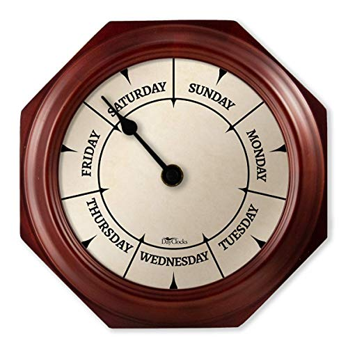 "DayClocks Classic Day Clock – Day of The Week Clock – Day to Day Clock with Noon & Midnight Markers – Unique & Fun Retirement Gift – 9.5"" Mahogany Wall Clock"